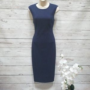 Express navy fitted midi dress